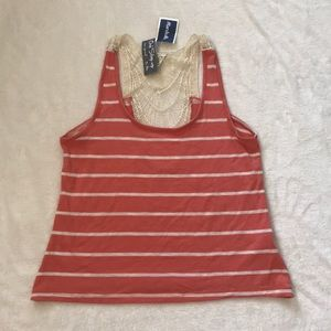 Coral and cream tank with back detail.